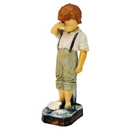 W & R Majolica Figurine Boy Crying Over Broken Plate