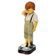 W & R Majolica Figurine Boy Crying Over Broken Plate