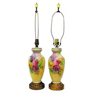 Pair of Hand Painted Porcelain Lamps with Rose Decoration