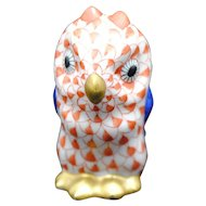 Herend Porcelain 1.75 inch Owl Rust Fishnet Decoration
