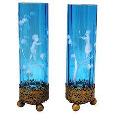 Pair of Light Blue Mary Gregory Victorian Art Glass Vases