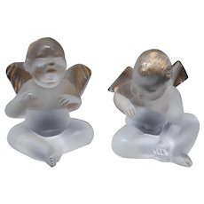 Pair of Lalique Art Glass Elton John Angels or Cherubs with 24k Gold Trim