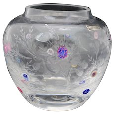 St Louis French Crystal Botticelli Art Glass Vase Millefiori & Engraved Flowers