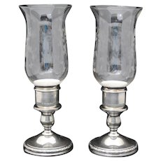 Pair of International Sterling Silver Prelude Candle Holders with Hurricane Shades