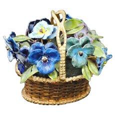 Jane Hutchenson Fleurs des Siecles Pansy Enamel Flower Arrangement