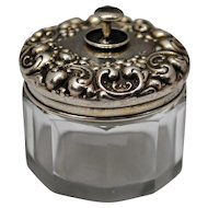 Sterling Silver & Glass Dresser Jar Trinket Stud Cufflink Box