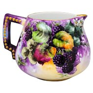Hand Painted Lemonade or Cider Pitcher with Blackberry Decoration