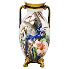 Hand Painted Porcelain Vase with Parrot Decoration