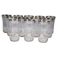 12 Water Glasses or Ice Tea Tumblers with Etched Silver Bands