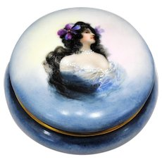 Hand Painted Powder or Trinket Box with an Art Nouveau Woman Portrait