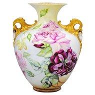 Lenox Belleek Hand Painted Vase with Roses and Cherub Handles
