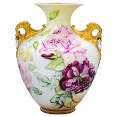 Lenox Belleek Hand Painted Vase with Roses and Cherub Handles