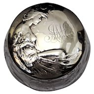 Cut Crystal Powder Jar with a Gorham Sterling Silver Art Nouveau Woman Lid