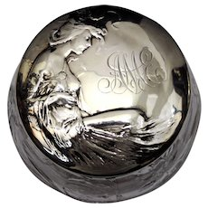 Cut Crystal Powder Jar with a Gorham Sterling Silver Art Nouveau Woman Lid