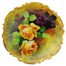 13 inch Coronet Limoges Hand Painted Charger Red & Yellow Roses