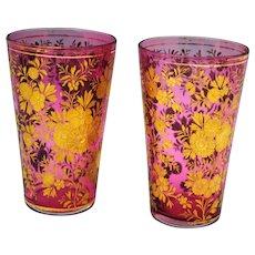 Pair of Moser Style Cranberry Glass Juice Glass with Etched Flowers & Gold