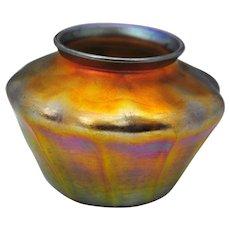 L C Tiffany Gold Favrile Art Glass Vase