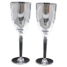 Pair of Lalique Ange Angel Stem Champagne Flutes