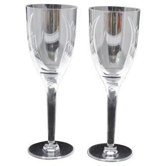 Pair of Lalique Ange Angel Stem Champagne Flutes