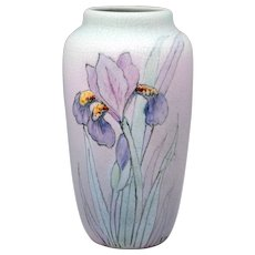 Weller Hudson Perfecto Vase Iris Decoration Signed Fox