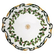 T & V Limoges France Christmas Holly Serving Plate