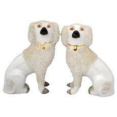 Pair of Staffordshire Dogs with Confetti Decoration
