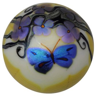 Orient & Flume Art Glass Paperweight Butterfly & Flowers 1976