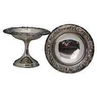 Pair of S Kirk & Son Sterling Silver Repousse Compotes
