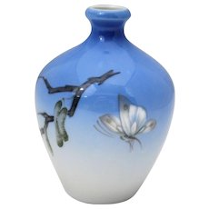 Royal Copenhagen Vase with Butterfly or Moth Decoration