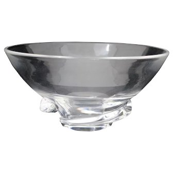 Steuben Crystal Clear Bowl with Twist Decoration