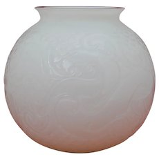 Lalique Xian Dragon Opaque White Vase