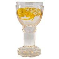 Bohemian Czechoslovakia Amber Etched Glass Goblet Deer & Turkey