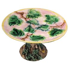 Majolica Compote Leaf Decoration with Tree Stump Base