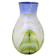 Early Charles Lotton Art Glass Vase with Green and Yellow Pulled Loops 1977