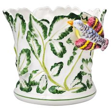 Tiffany & Co Italy Art Pottery Bird & Leaf Planter Jardiniere Cache Pot
