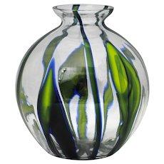 Czechoslovakia Czech Kralik Blue Green Art Glass Vase