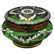 Victorian Era Green Glass Hinged Powder Jar Trinket Box or Jewelry Casket