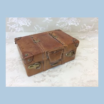 """Beautiful 4"""" Early Leather Doll Suitcase England"""