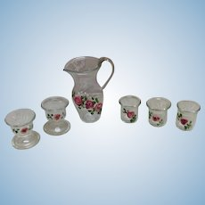 Hand Painted Miniature Glass Dishes French German Doll Display