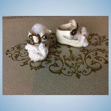"""Tiny 1 1/8"""" Paris Stamped Antique Shoes"""