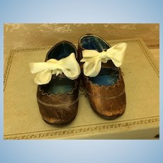 Antique French Leather Shoes Large Doll