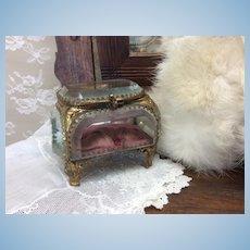 "Small 3"" Antique Beveled Glass Trinket Box"