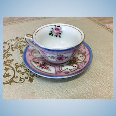 Hand Painted Porcelain Doll Cup & Saucer