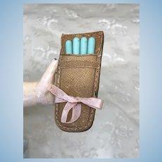 Antique Jumeau Blue Miniature Manicure Set