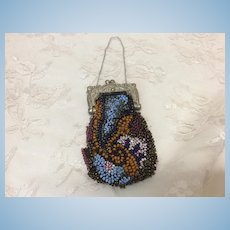 Lovely Antique Beaded Purse for Huret, Rohmer, Bru Jumeau or other French Fashion Doll