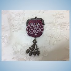 Lovely Antique Miniature purse for Huret, Rohmer, Bru or other French Fashion Doll