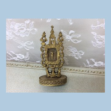 Antique Ormolu Miniature Communion Piece French Fashion or Doll House