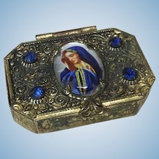 "Gorgeous 1 1/2"" Antique Ormolu Jewelry Box For Fashion or Small Doll"