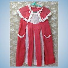 Vintage Girls Dress Bright Coral
