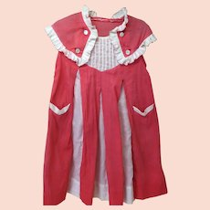 Vintage Girls Dress Bright Coral